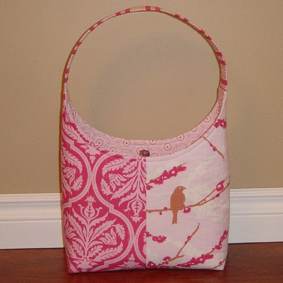SALE Pink Aviary Quilted Purse Tote