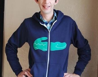 Alligator Hoody Sweatshirt- Unisex Men Women Tennis- Navy Green
