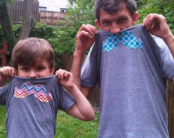 Father Son Dad Daughter All Sizes available SET OF 2 Mustache Shirts Father's Day New Dads