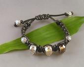 Macrame bracelet - Swarovski Crystals & Sterling Silver