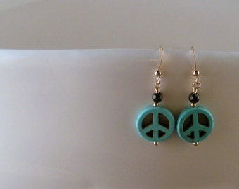 """Synthetic Turquoise - """"A Little Peace"""" Earrings"""