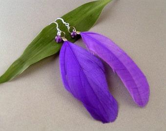 Feather Earrings - Purple
