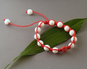 Red Pave and White Onyx - Faceted Macrame Bracelet