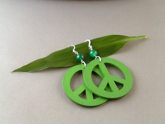 SALE - Wooden Peace Earrings