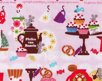 HALF YARD Kokka Fabric - Pink Geschichte in Waldern Fairytale November Books - Pfeifen Von Hameln - Japanese Import