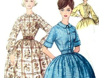 Vintage 50s Sewing Pattern Teen or Petite One Piece Full Skirt Dress With 31 Inch Bust