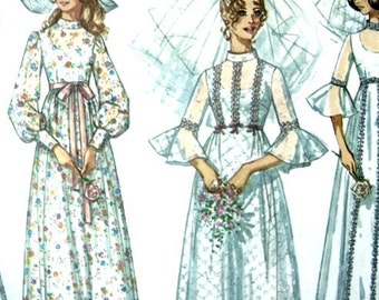 Vintage 70s Wedding Dress Sewing Pattern 32 or 33 Inch Bust Also Bridesmaids Dress