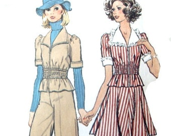 Vintage 70s Sewing Pattern Safari Look 33 or 34 Bust Top and Wide Leg Pants or Skirt