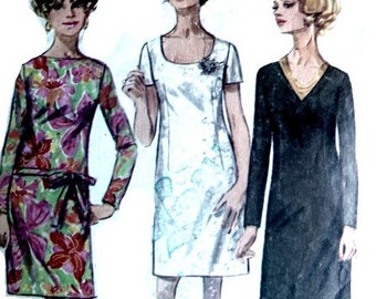 Mod Squad: Vintage 60s Sewing Pattern Mod Dress With 40 Inch Bust Simplicity 7844