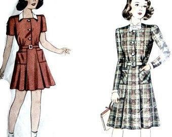 1940s Sewing Pattern Girls Vestee Dress Size 10 28 Inch Bust Retro Vintage Dress