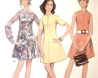 Vintage 60s Sewing Pattern 36 Inch Bust Mod Scooter Dress 1960s Retro Mad Men Style