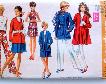 Funnel Collar Vintage Sewing Pattern Many 60s 70s Styles Skirt Pants Jacket Blouse Tunic 36 Bust