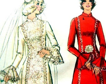 Vintage Simplicity 5313 Wedding Dress Sewing Pattern Bridesmaid 1970s Ruffled Lace Edging Trim Princess 32 or 33 Inch Bust