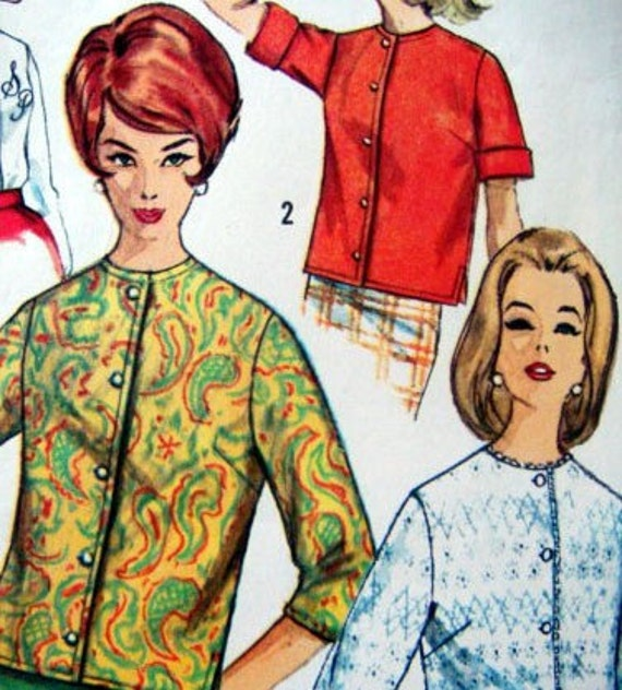 Vintage Misses Blouse Shirt Sewing Pattern Can be Monogrammed Super Chic 60s 1960s Long or Short Sleeve