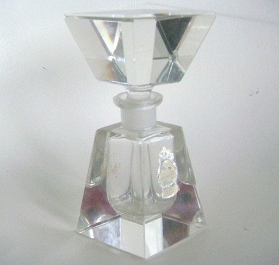 Vintage Antique Imperlux Hand Cut Lead Crystal Perfume Bottle Made in Germany Beautiful Heavy Glass Vanity Item 40s 50s