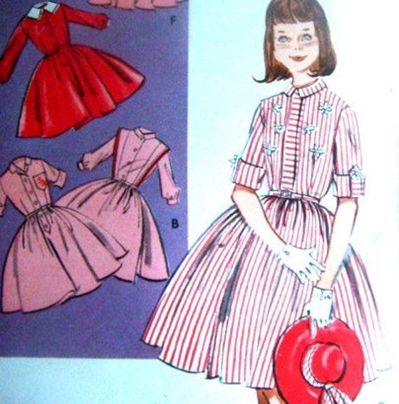 Vintage Teen Tween 1950s Shirtwaist Dress Sock Hop 50s Outfit Costume Circle Skirt 30 inch Bust