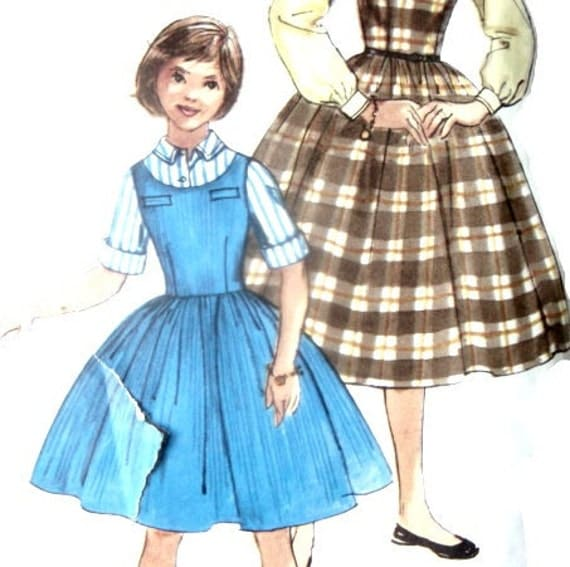 Vintage 50s Sewing Pattern Girls Blouse and Jumper Dress Size 10 With 28 Inch Bust