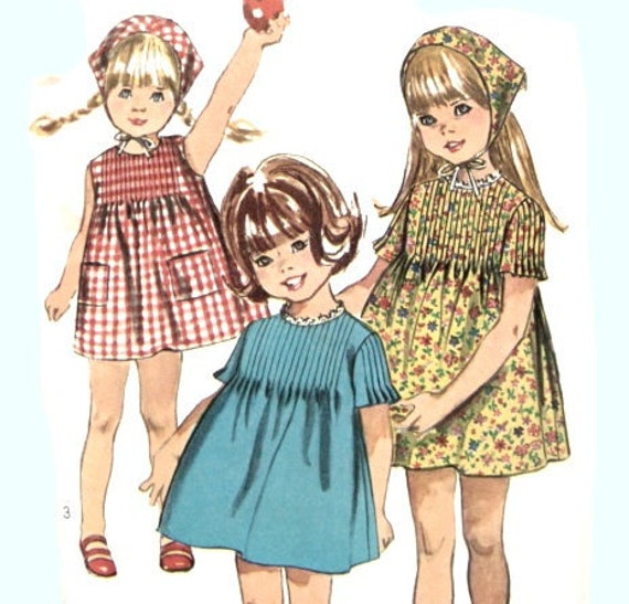 Vintage 60s Girls Dress Sewing Pattern Simplicity 6947 One Piece Dress and Scarf Tucks on Front