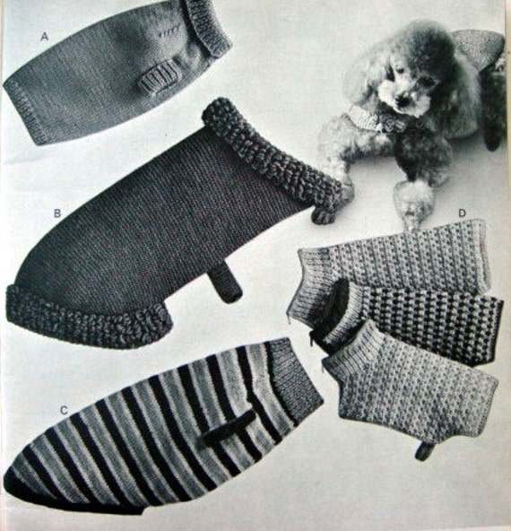 Knitting Patterns For Dogs Clothes : Dog Sweater Coat Knitting and Crochet Patterns Vintage Tea