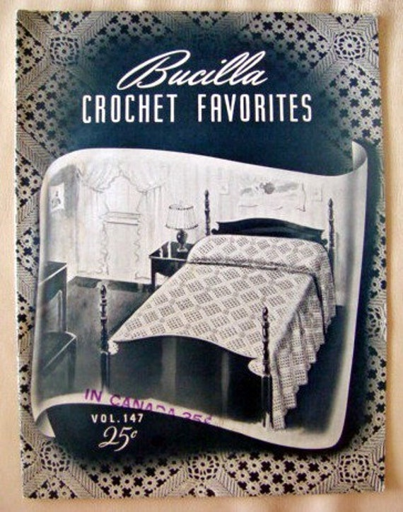 Bucilla Crochet Favorites Crocheted Bedspread Pattern Booklet Antique 1940s 40s Home Decor Bed Spread