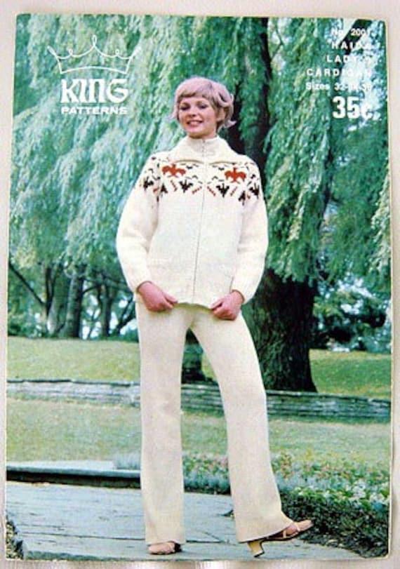 Vintage 60s Haida Cowichan Cardigan Sweater Knitting Pattern