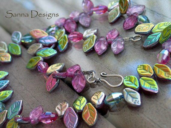 Fanciful and Fun Czech Leaf Bead Necklace