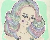 Rainbow Pastel Farrah Hair 5 x 5 inches