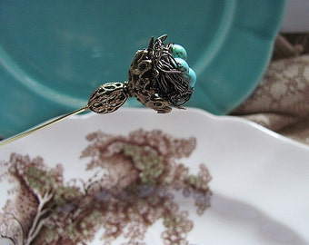 Secret Garden Wire Wrapped Robin's Nest Victorian Hatpin