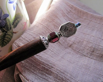 Heather on the Misty Moor Beaded Wood Hair Stick or Shawl Pin
