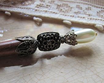 Renaissance Pearl SHORT Beaded Wood Hair Stick or Shawl Pin