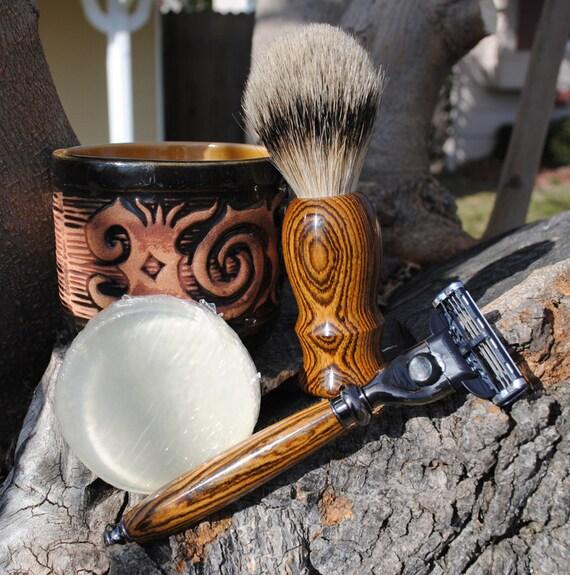 Shave Brush and Razor - Bocote Silvertip Badger Hair Shave Set