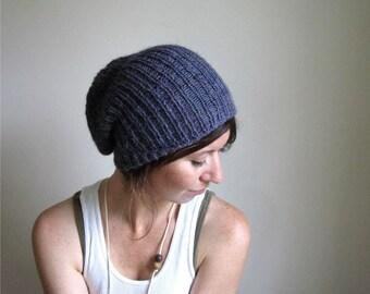 Alpaca Hand Knit Hat // Lavender Heather // Slouchy Beanie // Cap // Winter // Snow Cap