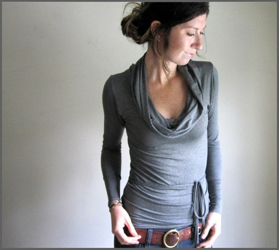 Charcoal Cowl Top- made to order