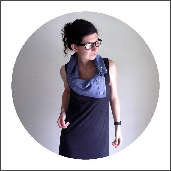Denim Cowl Dress