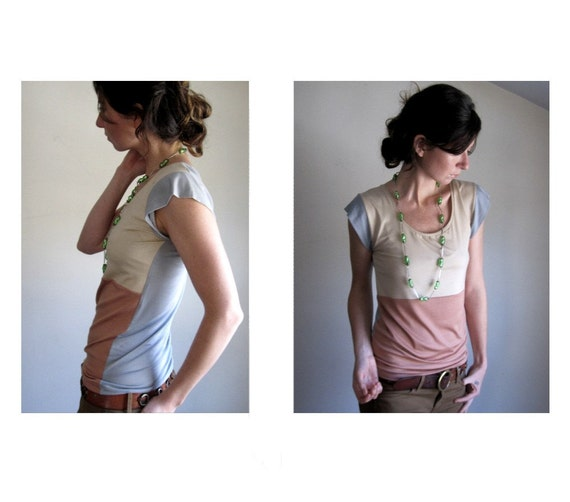 Pale Rose and Grey Color Block Top - Made to Order