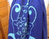 Long Cotton Exotic Hamsa Scarf in Sapphire Blue with Turquoise
