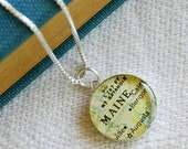 Maine - Sterling Map Charm Necklace