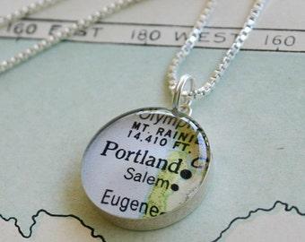 Portland, Oregon - Sterling Map Necklace