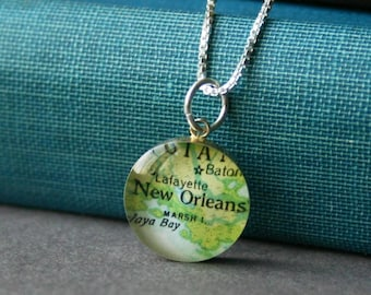 New Orleans - Small Sterling Map Charm Necklace