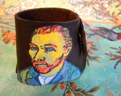 SALE Vincent Van Gogh Hand Painted Dark Brown Leather Cuff Eco Friendly