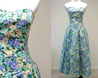 1980 vintage SPRING FLING floral strapless sun dress . size 6