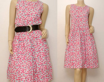 PINK FLORAL sleeveless dress . size 14 youth . made in USA