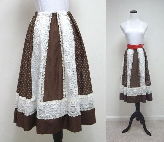 Carefree Fashions . floral print . see thru white lace . brown full skirt .  medium - large