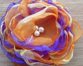Purple Orange and Yellow 4.5 inch Organza Peony Pin or hair accessory bobby pin You Choose eco friendly wedding