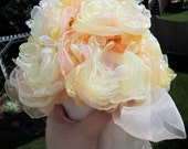 Eco Wedding Bouquet Peach, Yellow, Pale Yellow Organza Peonies 8 Count with Champagne Wrap and Bow eco friendly wedding