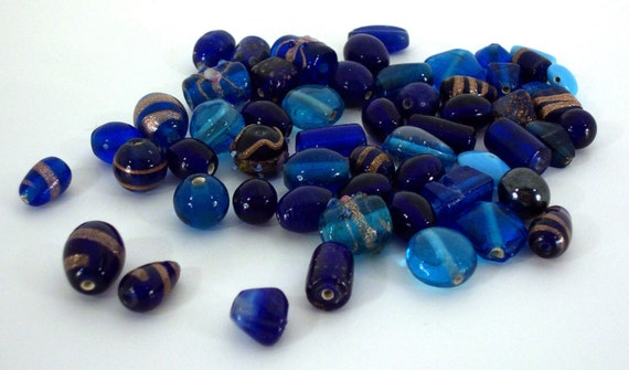 Blue Glass Beads  supplies\/destash