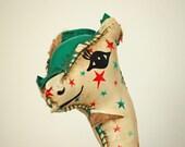 vintage giraffe stuffed toy with stars nursery decor mid century toy