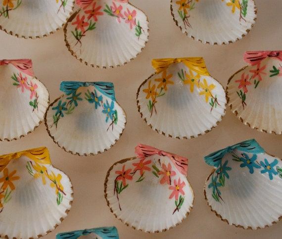 hand painted seashells vintage