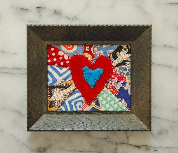 framed patchwork heart with arrow -  all vintage materials