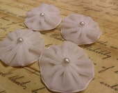 Pleated Velvet Flower Blooms with pearl centers Cloud White